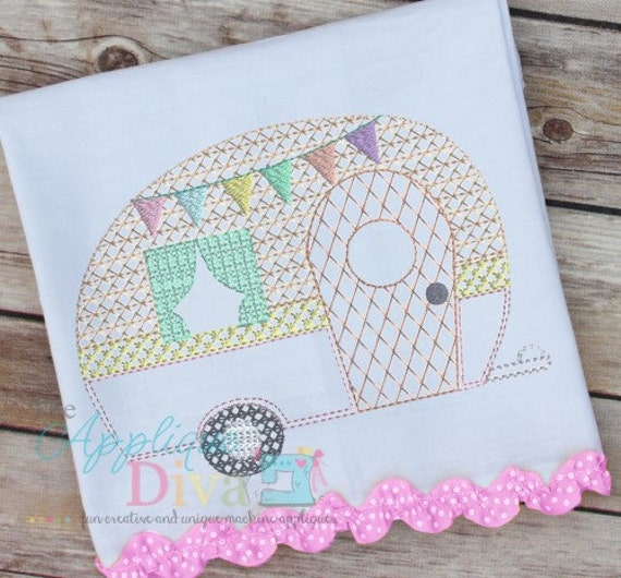 Vintage stitch glamping camper digital embroidery design