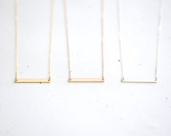 Bar Necklace - 14k gold filled bar, 14k rose gold filled bar, sterling silver bar necklace, minimalist thin skinny simple dash beam jewelry