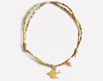 Liberty Bracelet with gold plated swallow • Bracelet Liberty Hirondelle Plaqué Or