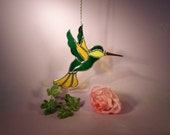 NFL Green Bay Packer Stained Glass Suncatcher Hummingbird (771)