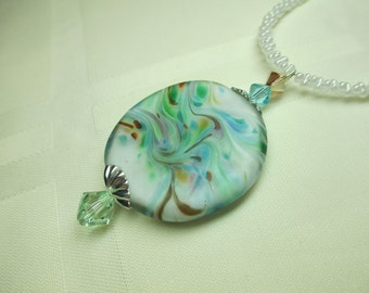Romantic Lampwork Bead Necklace in Blues and Green