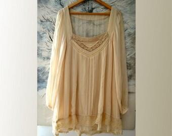 Tunic vintage, long sleeve, ecru, romantic tunic, lace