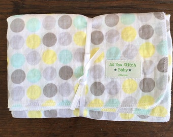 Muslin 100% Cotton Receiving Blanket. Extra Large for Swaddling - 36x36. Polka Dot.