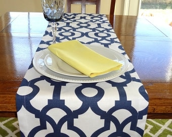Navy & White Geometric Table Runner Tablecloth Geometric Blue Green Black Red Grey Yellow Table Runners All Sizes