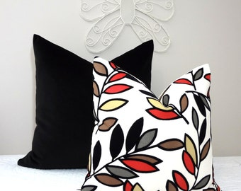 Black Velvet Leaves Pillow Cover Throw Pillow Black Grey Coral Beige Brown Leaf Pillow Cover  18x18