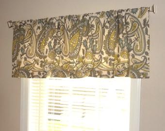 Curtain Valance Topper Window Treatment Citrine Blue Paisley Valance 52x15
