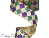 "Wired Ribbon, 1 1/2"" wide, Purple, Green, Gold Harlequin Glitter - TEN YARD ROLL -  ""Court Jester New Orleans""  Wire Edged Ribbon"