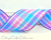 """Wired Ribbon, 2  1/2"""", Blue, Pink, Lavender Plaid - TEN YARDS - Offray """"Berry Madras"""" Plaid Spring, Summer Wired Edged Ribbon"""