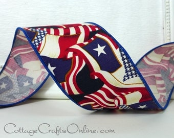 """SALE! Wired Ribbon, 2 1/2"""" wide, Red, White and Blue Texas Flag Print - Ten Yard Roll -  """"Texas Lone Star"""" Wire Edge  Ribbon"""