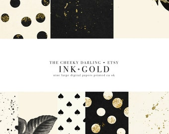 Fall Paper Set Ink and Gold  chic Autumn Color Patterns Modern vintage floral glitter paint black and cream holiday 300 dpi printed cu ok