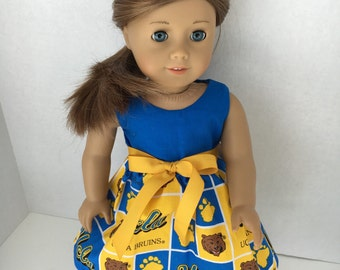 18 inch doll dress made of UCLA fabric, UCLA Bruins dress made to fit 18 inch dolls such as American Girl and similar 18 inch dolls
