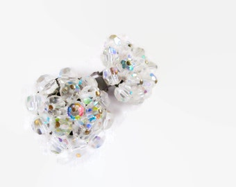 Vintage Aurora Borealis Cluster Earrings  Crystal 1950s Bride Wedding Sparkling