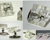 1940s Clear Lucite Ladies Cufflinks, Square Clear Lucite Cufflinks for HER, Vintage Lucite Accessories, 1940s Goodness, Vintage Cufflinks