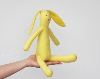 Yellow bunny rabbit stuffed bunny doll cute soft hare softie plush animal toy gift for baby shower nursery decor