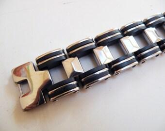 bracelet black silver steel
