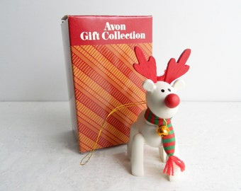 Vintage Belvedeer Reindeer Christmas Ornament - Tree Decorations - 1980s Avon