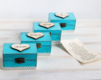 Bridesmaids Gift Box Will You Be My Bridesmaid Proposal Box Maid Of Honour Bridal Party Gift Box Blue Personalized Bridesmaid Gift set of 4