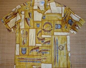 Mens Vintage 60s Andrade Sailing Canoe Hawaiian Aloha Shirt - M - The Hana Shirt Co
