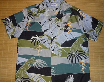 Mens Vintage 80s Kai Nani Jungle Hawaiian Aloha Shirt - XL -  The Hana Shirt Co