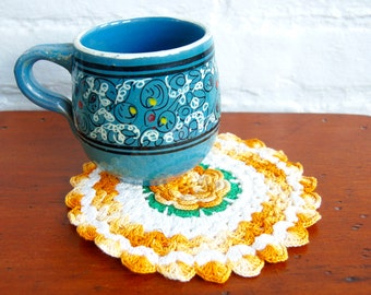 Crocheted Yellow Trivet Doily Pot Holder Vintage 1940s War Era Handmade Flower Cotton Textile