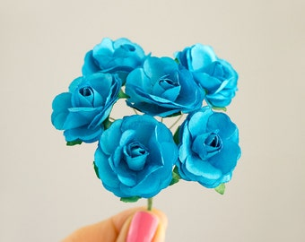 Bouquet Aqua Blue Paper Roses / Size 30 mm /  Paper flowers With Wire Stems / Six Blossoms / Artificial Flowers / Wedding
