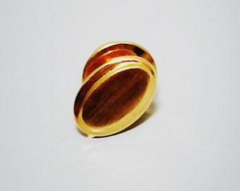 Vintage 1970s Oval Gold Tie Tack
