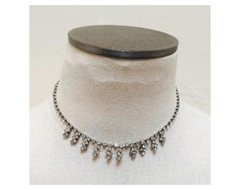 Vintage 1960s Silver & Rhinestone Necklace