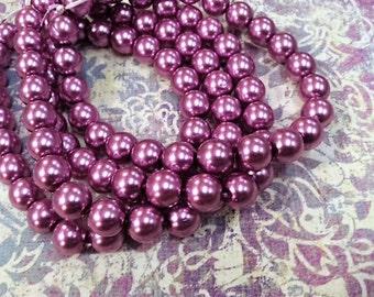 10mm Mauve Jablonex Glass Pearl Beads, 24pc, 10mm Dark Rose Pearl, 10mm Czech Glass Pearl, Dark Pink Pearl, 10mm Glass Pearl, Jablonex, Pink