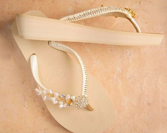 Bridal Wedges flip flops- Ivory gold  - wedding wedges - Havaianas - Sample size 8 - MDW-0002