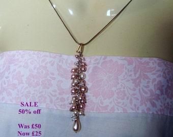 SALE - Swarovski & Faux Pearl Cluster Pendant - Pink/Cream