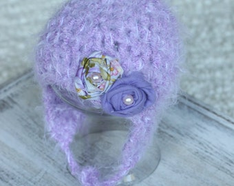 3-6m Baby Girl Purple Mohair hat,Crochet baby girl gift