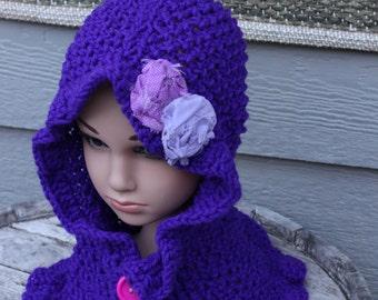 Deep Purple Knitted Hoodie Scarf, Purple Hoodie,2-3Y knitted hoodie