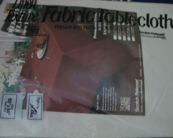 """White Tablecloth Vintage New in Package 60"""" x 84"""""""