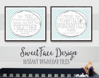 INSTANT DOWNLOAD FILES Fearfully and Wonderfully Made shabby chic chevron printable art, Psalm 139:13-14 Bible verse, baby girl nursery