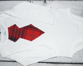 Red Plaid Tie Bodysuit