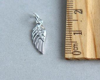 Silver Plated Bronze Wing, Silver Plated Bronze Wing Angel Charm, Angel Charm, Angel Wing Charm, Memory Charm, 20mm (1 piece)