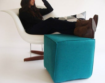 Pouf Ottoman/Eclectic Pouf/ Minimalistic /Linen/Teal /Modern Pouf / Sturdy Seating/ Unique Side table/ Foot Stool /Zigzag Studio Design