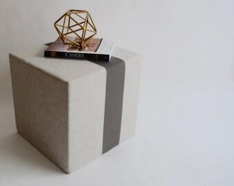 Linen Pouf/Grey/Ottoman/Stripe Pouf/Urban/Minimalistic/Modern/Floor Pouf/Foot Stool/Nursery Pouf/ Zigzag Studio Design