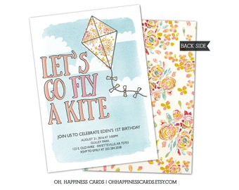 Kite or Park Birthday Invitation- Spring, Summer, Fly a Kite, Playground, Watercolor, Girl, Flowers // Digital or Printed (FREE SHIPPING!)