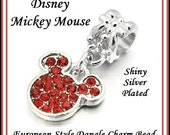 DISNeY MiCKEY MOUSE Head EaRS ~ Red Crystals ~ Fancy Back ~ Smaller Size, Silver Plated Dangle Charm Bead ~ fit EURoPEAN Bracelets - MD-MM