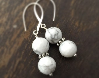 White Howlite Earrings - Gemstone Jewelry - Sterling Silver Jewellery - Dangle - Fashion