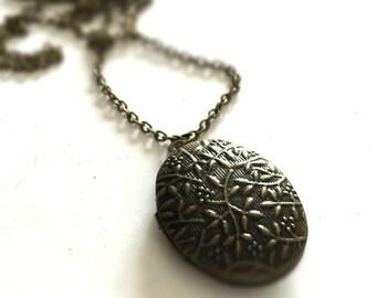 Brass Locket Necklace - Brass Chain Jewelry - Chunky Jewellery - Funky - Mod - Fashion