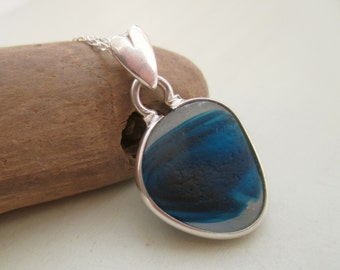 Blue End Of Day Sea Glass Sterling Silver Necklace