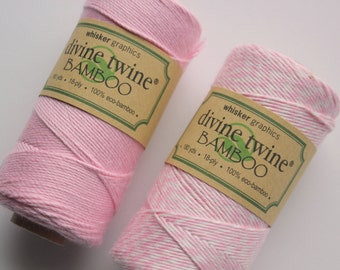 CLOSEOUT - Bamboo Divine Twine - Solid Pink or Stripe Bakers Twine - Full Spool - 180 yards