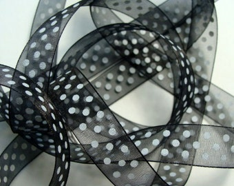 "5/8"" Dotted Organza Ribbon - Black with White Dots - 25 yd Spool"