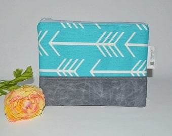 Turquoise Arrow Clutch // Waxed Canvas Clutch - Day to Night Clutch - Boho Zip Purse - Gift for Her - Bridesmaid Gift - Made to Order