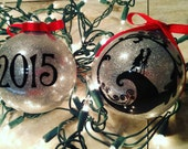 Nightmare Before Christmas Inspired Custom Personalized Christmas Ornament Jack Skellington and Sally