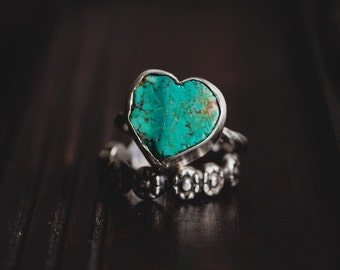 Heart Turquoise Ring-Sterling Silver Heart Ring-Natural Turquoise Stack Ring-Floral Stacking Ring Set-Stack Rings-Native American Style Ring