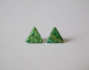 Small Triangle Studs, polymer clay jewelry, green earring studs