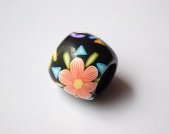 Dread Bead with 11 mm bead hole, polymer clay large hole bead
